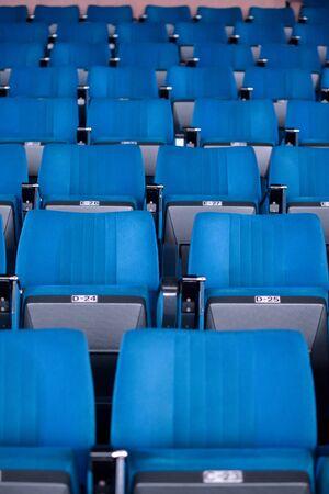 Blue seats in auditorium theater.