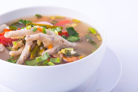 Chicken feet spicy soup. Popular food in Thailand Stock Photo