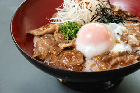 The favorite of japanese food style. A pork rice bowl with onsen egg and vegetable.