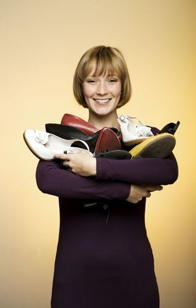 young woman with shoes Stock Photo