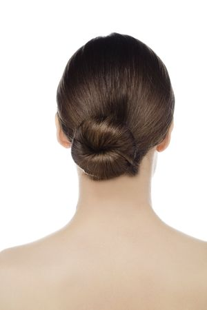 young woman with bun in hair