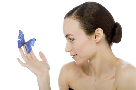 young beutiful woman with butterfly on her photo
