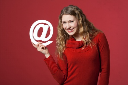 young woman holding an Internet icon photo