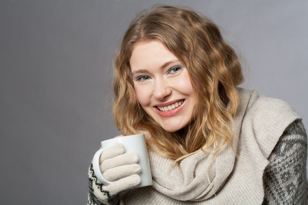young woman with hat and gloves photo