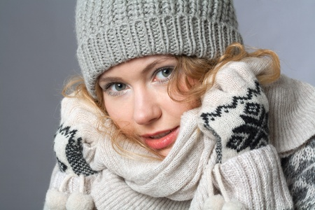 young woman with hat and gloves Stock Photo