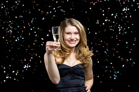 young elegant woman in party and celebration mood