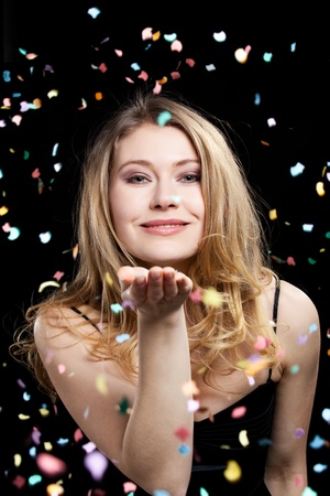 young elegant woman in party and celebration mood photo