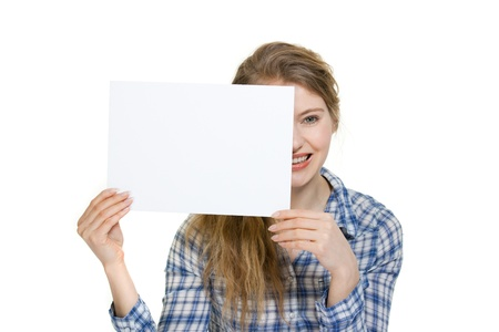 young woman holding blank display with copyspace
