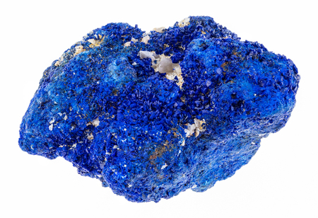 macro photography of natural mineral from geological collection - raw azurite (chessylite) stone on white background Stock Photo