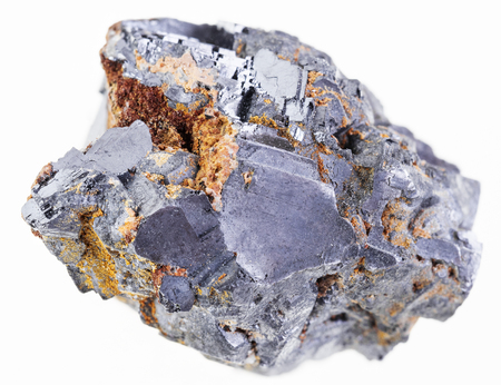 macro photography of natural mineral from geological collection - piece of raw crystalline galena (galenite, lead glance) stone on white background