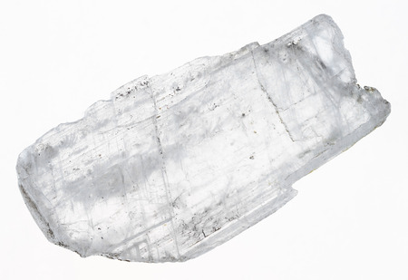 macro photography of natural mineral from geological collection - rough Gypsum Fish Tail crystal on white background Banque d'images