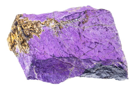 macro photography of natural mineral from geological collection - rough purpurite stone on white background Stock Photo