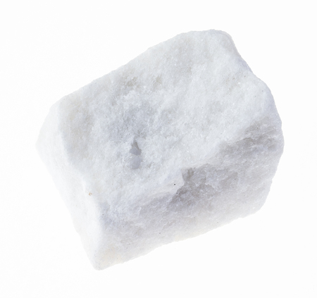 macro photography of natural mineral from geological collection - raw white marble stone on white background