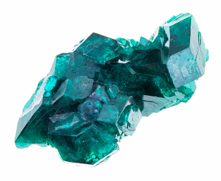 macro photography of natural mineral from geological collection - rough Dioptase (copper emerald) crystals on white background Imagens