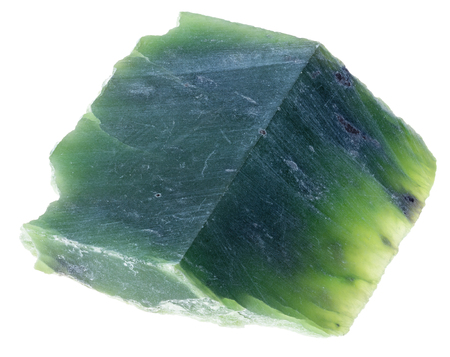 macro photography of natural mineral from geological collection - slab of green Nephrite (jade) stone on white background