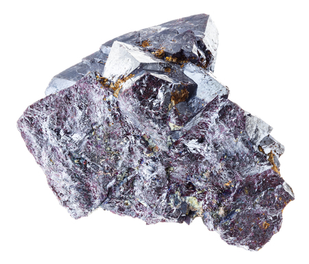 macro photography of natural mineral from geological collection - raw Cuprite rock on white background