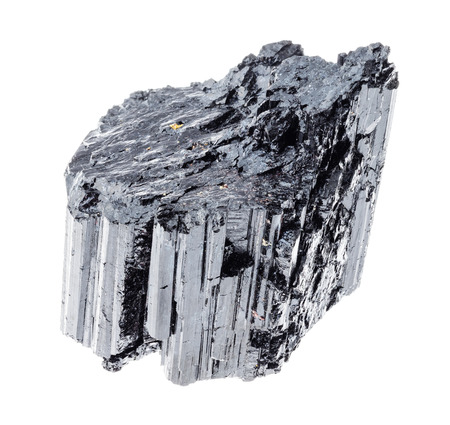 macro photography of natural mineral from geological collection - rough black Tourmaline (Schorl) crystal on white background