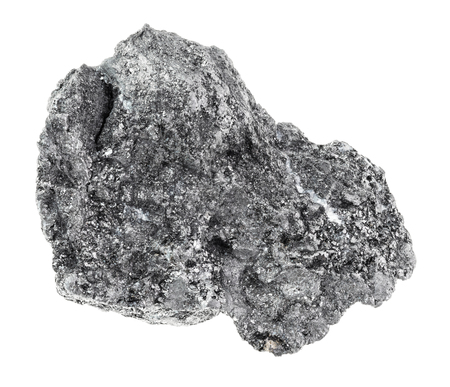 macro photography of natural mineral from geological collection - rough Graphite stone on white background