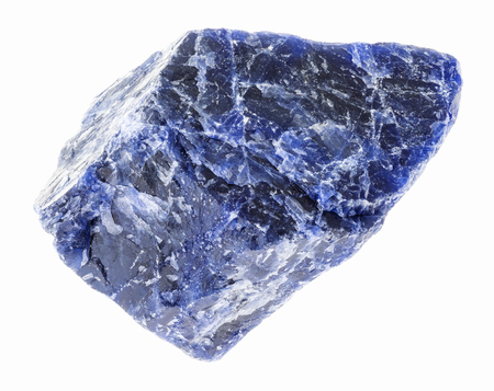macro photography of natural mineral from geological collection - raw blue Sodalite stone on white background Stock Photo
