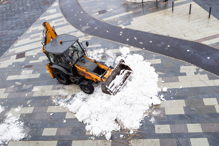 snow removal from Moscow city street in winter Stock Photo