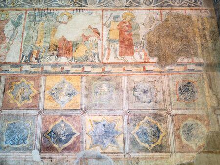 BERGAMO, ITALY - FEBRUARY 19, 2019: ancient frescoes in old aula Tempietto di Santa Croce and Basilica di Santa Maria Maggiore in Upper Town (Citta Alta) of Bergamo city, Lombardy Sajtókép