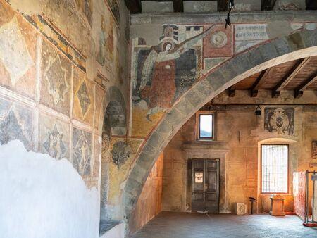 BERGAMO, ITALY - FEBRUARY 19, 2019: interior of old aula Tempietto di Santa Croce and Basilica di Santa Maria Maggiore in Upper Town (Citta Alta) of Bergamo city, Lombardy Stock fotó - 128988240