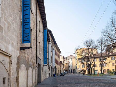 BERGAMO, ITALY - FEBRUARY 20, 2019: building of The Gallery of Modern and Contemporary Art (GAMeC - Galleria d Arte Moderna e Contemporanea) on street via San Tomaso in old monastery in Bergamo