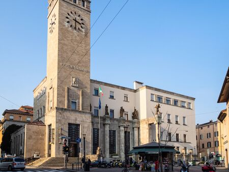 BERGAMO, ITALY - FEBRUARY 19, 2019: Post and Telegraph palace (Palazzo delle Poste) in Bergamo city on via Masone. The Post Office was commissioned in 1932 on the project of Angiolo Mazzoni