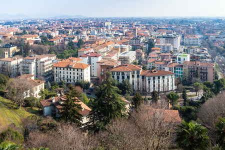 Travel to Italy - above view of Lower Town (Citta Bassa) from Porta San Giacomo gate in Bergamo city, Lombardy
