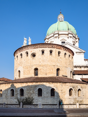 Travel to Italy - Duomo Vecchio (Rotonda, Old Cathedral) and view of Duomo Nuovo (The New Cathedral) on square Piazza Paolo VI (Piazza del Duomo) in Brescia city, Lombardy