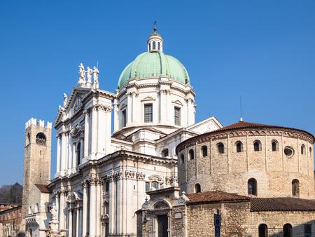 Travel to Italy - view of Duomo Vecchio (Rotonda, Old Cathedral) and Duomo Nuovo (The New Cathedral) on square Piazza Paolo VI (Piazza del Duomo) in Brescia city, Lombardy
