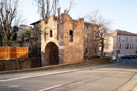 Travel to Italy - ruined medieval town wall Porta Calcinara in Pavia city, Lombardy Stock Photo