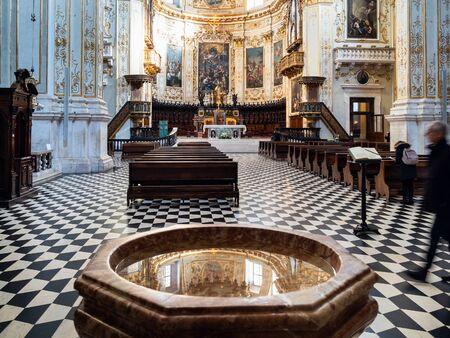 BERGAMO, ITALY - FEBRUARY 25, 2019: nave of Duomo Cathedral Cattedrale di Sant'Alessandro in Upper Town (Citta Alta) of Bergamo city, Lombardy Editorial