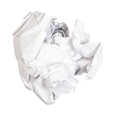 crumpled ball from used white paper cut out on white background Banco de Imagens - 124950968