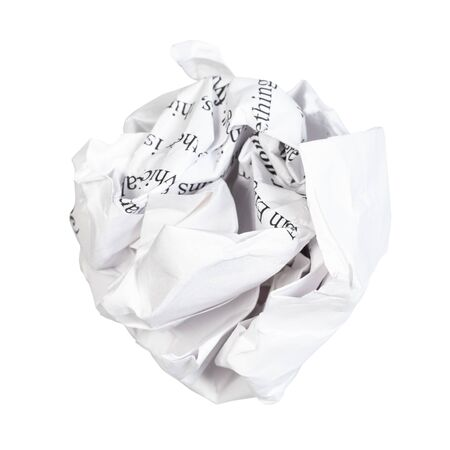 crumpled ball from written paper cut out on white background