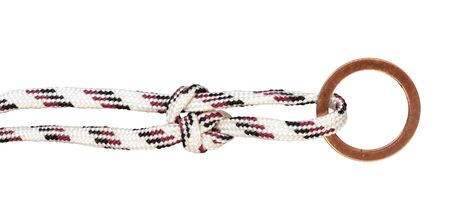 running bowline knot tied on synthetic rope cut out on white background