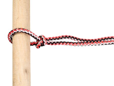 slipped overhand knot tied on synthetic rope cut out on white background Фото со стока