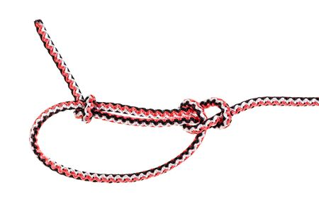another side of bowline knot tied on synthetic rope cut out on white background