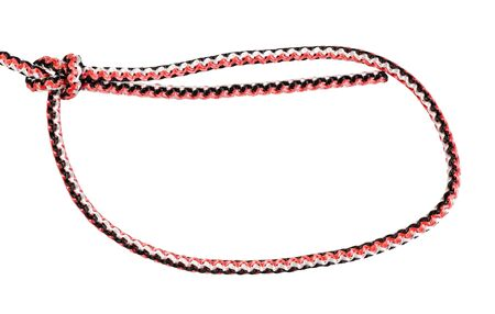 simple bowline knot tied on synthetic rope cut out on white background