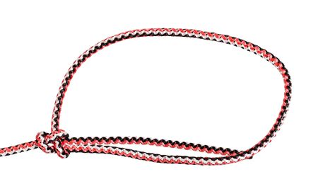 another side of simple bowline knot tied on synthetic rope cut out on white background