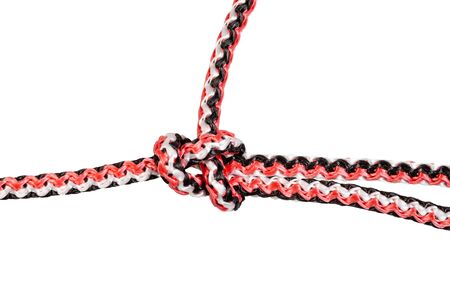 simple bowline knot close up tied on synthetic rope cut out on white background