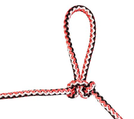 artillery loop knot tied on synthetic rope cut out on white background Фото со стока