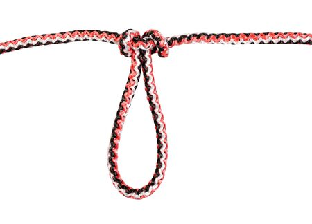 another side of artillery loop knot tied on synthetic rope cut out on white background