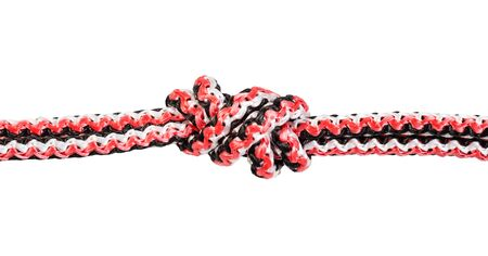 Ring Knot (Water Knot) tied on synthetic rope cut out on white background Banco de Imagens - 124951467