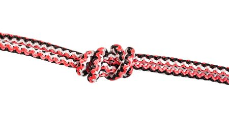 another side of Ring Knot (Water Knot) tied on synthetic rope cut out on white background