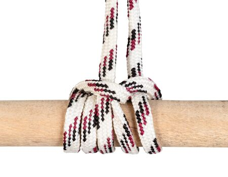 another side of Camel Hitch knot tied on synthetic rope cut out on white background