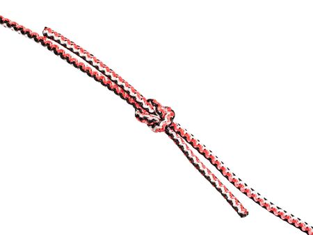 another side of Thief knot tied on synthetic rope cut out on white background Banco de Imagens - 124951397