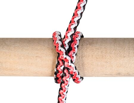 another side of Clove hitch knot tied on synthetic rope cut out on white background