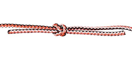 another side of reef knot tied on synthetic rope cut out on white background