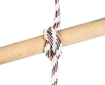 gaff topsail halyard bend knot tied on synthetic rope cut out on white background